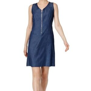 Nine West Blue Denim Chambray Shift Zip Dress
